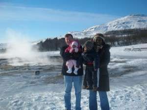 "(L to R) Bart, Malaika, Amani and Zawadi at Geysir (Is it ""icy"" in Iceland?)"