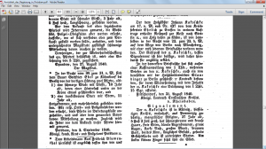 Amtsblatt extract (Johann Kakoschke – 1840)