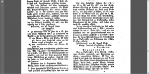 1840 Government Gazette Potsdam extract (Johann Kakoschke – 1840)