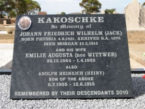 Kakoschke Headstone at Morgan Cemetery (3 – Beginning a New Life in South Australia)
