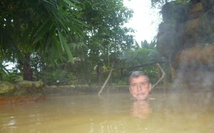 Having a soak in the volcanic hot-springs